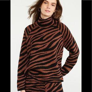 Ann Taylor Animal Jacquard Mock Knit Sweater